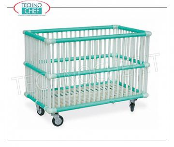Laundry trolleys POLYPROPYLENE BASKET FOR WASHING MACHINES with 80 mm diameter wheels, mounted on a galvanized steel frame, 830x480x620h