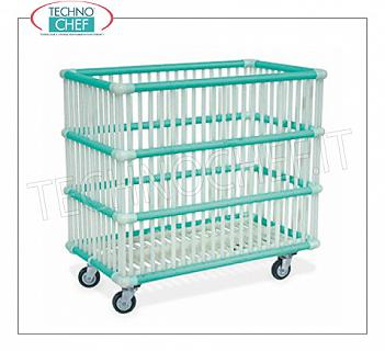 Laundry trolleys POLYPROPYLENE BASKET IN WASHING MACHINES with 80 mm diameter wheels, mounted on a galvanized steel frame, 830x480x790h dim.