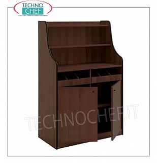 Room service furniture Cherry wood dining room furniture with 2 open drawer drawers, 2 doors with swing door and 2 shelves, dim. Mm 940x480x1450h