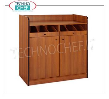 Room service furniture Cherry wood dining room cabinet with 2 open drawer drawers and 2 door swing doors, dim. Mm.940x480x980h