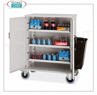 Trolleys for Bar and Minibar refueling CART for REFURBISHING BAR and MINIBAR CUPBOARD with 2 HINGED DOORS, 3 INTERMEDIATE SHELVES adjustable in height, side tray for empty collection, push handle and bumper perimeter, dim.mm.1000x620x1190h