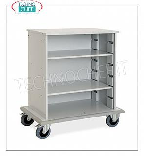 Laundry trolleys - cleaning on hotel floors DOOR CABINET A DAY, with 2 INTERMEDIATE SHELVES adjustable in height, perimeter bumpers, on 4 wheels (2 fixed and 2 swivel), dim.mm.1000x620x1180h