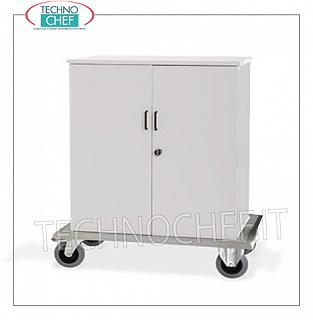 Laundry trolleys - cleaning on hotel floors CUPBOARD HOLDER with 2 DOOR LOCKING DOORS, 2 INTERMEDIATE SHELVES adjustable in height, perimeter bumpers, on 4 wheels (2 fixed and 2 swivel), dim.mm.1000x620x1180h