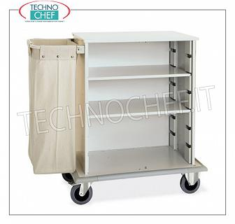 Laundry trolleys - cleaning on hotel floors DOOR CABINET A DAY, with 2 INTERMEDIATE SHELVES adjustable in height, and on 1 side FRAME with LINEN BAG, perimeter bumpers, on 4 wheels (2 fixed and 2 swivel), dim.mm.1000x620x1180h