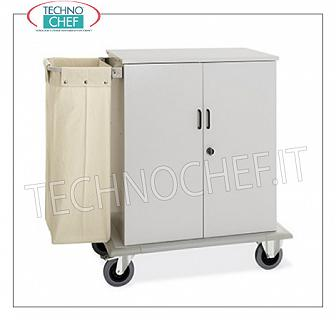 Laundry trolleys - cleaning on hotel floors CUPBOARD WALLET with 2 SWING DOORS, 2 INTERMEDIATE SHELVES adjustable in height, and on 1 side FRAME with LINEN BAG, perimeter bumpers, on 4 wheels (2 fixed and 2 swivel), dim.mm.1000x620x1180h