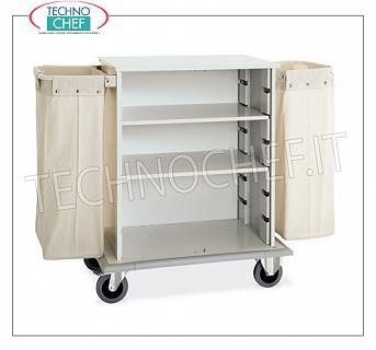 Laundry trolleys - cleaning on hotel floors DOOR CABINET A DAY, with 2 INTERMEDIATE SHELVES adjustable in height, and on 2 sides FRAME with LINEN BAG, perimeter bumpers, on 4 wheels (2 fixed and 2 swivel), dim.mm.1000x620x1180h