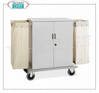 Laundry trolleys - cleaning on hotel floors CLOSED DOOR WITH 2 SWING DOORS, 2 INTERMEDIATE SHELVES adjustable in height, and on 2 sides FRAME with LINEN BAG, perimeter bumpers, on 4 wheels (2 fixed and 2 swivel), dim.mm.1000x620x1180h