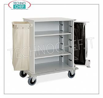 Laundry trolleys - cleaning on hotel floors DOOR CABINET A DAY, with 2 INTERMEDIATE SHELVES adjustable in height, and on the sides FRAME with LINEN BAGS and FRAME for WASTE BAG, perimeter bumpers, on 4 wheels (2 fixed and 2 swivel), dim.mm.1000x620x1180h
