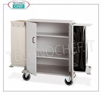 Laundry trolleys - cleaning on hotel floors CLOSED FLAT WALLET with 2 SWING DOORS, 2 INTERMEDIATE SHELVES adjustable in height, and on the sides FRAME with LINEN BAG and FRAME for WASTE BAG, perimeter bumpers, on 4 wheels (2 fixed and 2 swivel), dim.mm.1000x620x1180h