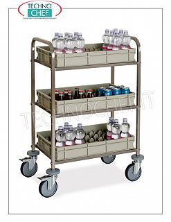 Trolleys for Bar and Minibar refueling TROLLEY for REFRIGERATION BAR and MINIBAR in stainless steel with 3 FLOORS supplied with removable BILLBOXES, equipped with anti-overturn cage for bottles, dim.mm.730x470x1020h