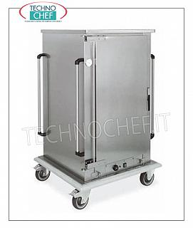 Temperature maintainer, Ventilated HOT cart for 8 GN 1/1 HOT MAINTENANCE trolley for COOKED FOODS, 1 hinged door, 8 GRILL CAPACITY or GASTRO-NORM 1/1 (mm.325x530) trays, STEP between the guides 120 MM, VENTILATED HEATING, temp. From + 65 ° to +90 °, HUMIDIFIER, V.230 / 1, Kw.1.6, dim.mm.780x730x1510h