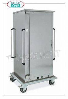 Temperature maintainer, Ventilated HOT cart for 13 GN 1/1 HOT MAINTENANCE trolley for COOKED FOODS, 1 hinged door, 13 GRID CAPACITY or GASTRO-NORM 1/1 (mm.325x530) trays, STEP between the guides 80 MM, VENTILATED HEATING, temp. From + 65 ° to +90 °, HUMIDIFIER, V.230 / 1, Kw.1.6, dim.mm.780x730x1510h