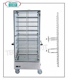 Hot cups HOT PORTPHATIC SHOPPING CART WITH 15 GRILLS of mm.650x650 for a total of 60 PLATES with DIAMETER MAX of 310 mm or 90 PLATES with DIAMETER MAX of 200 mm, static heating with temperature between 30 ° and 60 ° C, V.230 / 1, Kw.2,00, dim.mm 830x770x1900h