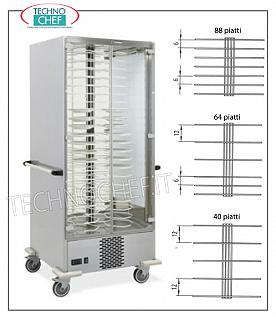 Refrigerated plate trolley, capacity of: 40-64-88 Plates max diameter 240 mm REFRIGERATED READY-TO-STONE PLATE TROLLEY, version with PLATE-HOLDERS GRILL 120 MM. for a MAXIMUM of 40 PLATES with DIAMETER from 180 to 240 mm., working temperature between + 6 / + 10 ° C, V.230 / 1, Kw.0,7, dimensions mm.830x770x1900h