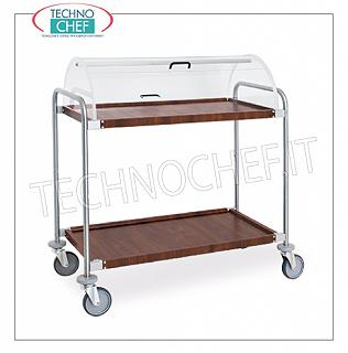Trolleys for desserts and wooden cheeses Trolley with semi-cylindrical dome open on the 2 sides, 2 wooden shelves covered with wood similar to mm.900x520, structure in chromed steel tube, dim.mm 1090x590x1220h