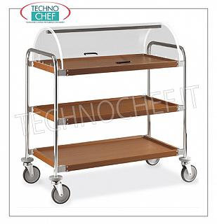 Trolleys for desserts and wooden cheeses Trolley with semi-cylindrical dome open on the 2 sides, 3 shelves in steel covered with woodlike mm.900x520, structure in chromed steel tube, dim.mm 1090x590x1220h