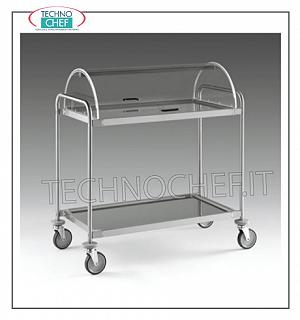 Trolleys for desserts and wooden cheeses Trolley with semi-cylindrical dome open on 2 sides, 2 shelves in 18/10 stainless steel from 900x520 mm, structure in stainless steel tube, dim.mm 1090x590x1220h