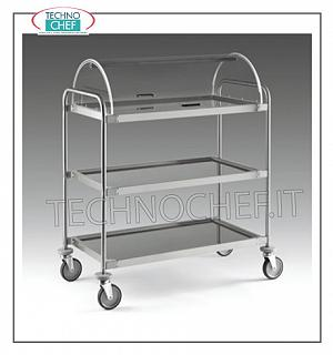 Trolleys for desserts and wooden cheeses Trolley with semi-cylindrical dome open on 2 sides, 3 shelves in 18/10 stainless steel from 900x520 mm, structure in stainless steel tube, dim.mm 1090x590x1220h