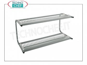 Stainless steel dish drainer 2 shelves 30 + 30 dishes DISH PLATE shelf with 2 shelves for 30 + 30 plates with diameters from 160 to 320 mm, dimensions mm.830x420x480h