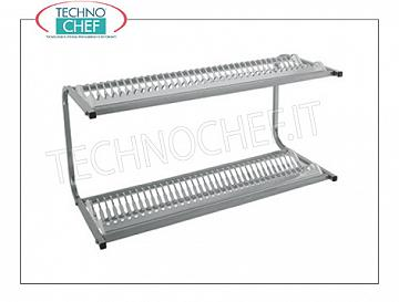 Stainless steel 304 dish drainer wall cabinet with 2 shelves 36 + 36 plates SCOLAPIATTI shelf with 2 shelves for 36 + 36 dishes with diameter from 160 to 320 mm, dimensions mm.980x420x480h