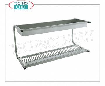 Stainless steel 304 dish drainer-glass drainer with 1 shelf 36 dishes DISH & DRAINER shelf with 1 shelf for 36 dishes with a diameter from 160 to 320 mm and 1 shelf for glasses, dimensions mm.980x420x480h