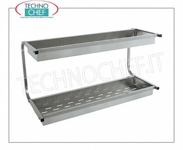 Wall-mounted glass drainer 304 stainless steel 2 shelves with perforated basket GLASS DRAINER shelf with 2 shelves equipped with basket with perforated bottom, dimensions mm.980x420x480h