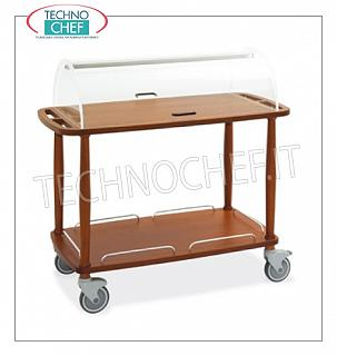 Trolleys for desserts and wooden cheeses Trolley with semi-cylindrical dome open on 2 sides, 2 shelves in
