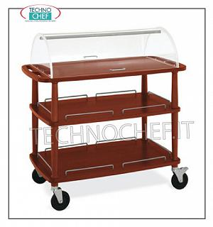 Trolleys for desserts and wooden cheeses Trolley with semi-cylindrical dome open on 2 sides, 3 shelves in