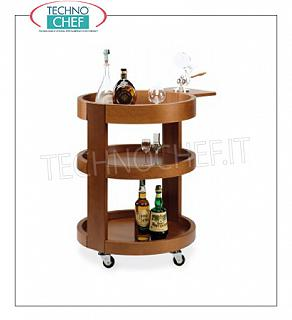 Trolleys for wines and liqueurs Round wall-mounted trolley in solid wood NOCE color, with reclosable side shelf, Weight 40 Kg, dim.mm.590x800