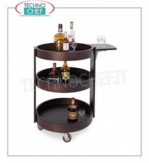 Trolleys for wines and liqueurs Round wall-mounted trolley in solid wood WENGE 'color, with reclosable side shelf, Weight 40 Kg, dim.mm.590x800