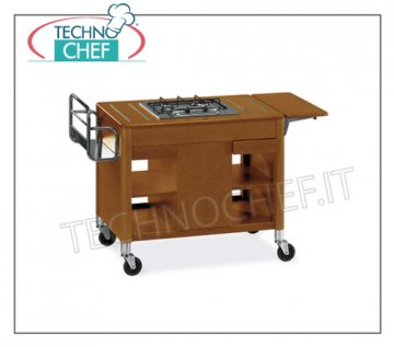 Technochef - FLAMBE TROLLEY in wood with 2 BURNERS in line, Mod.6400 Flambe cart in wood with 2 burners in line, bottle rack, side ribatina, central compartment bottle holder, shelves and drawers, dimensions 1180x550x810h mm