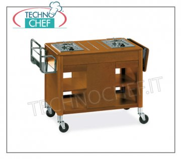 Technochef - FLAMBE 'wooden TROLLEY, 2 SEPARATE BURNERS, Mod.6402 Wooden flambe trolley with 2 separate burners, bottle rack, side flap, central compartment for cylinder, tops and drawers, dim. mm 1180x550x810h