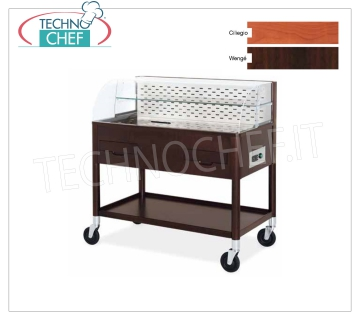 Refrigerated display stands Cherry stained beech refrigerated trolley, WALL version with: front opening plexiglass dome, lower shelf, cutlery drawer with 3 compartments and removable plate rack, dimensionw 0,417, dim.mm.1080x610x1130h