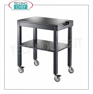 Wooden service carts Service trolley in matt lacquered wood in the standard colors, with 2 shelves, push handle, max. Kg.30, dim.mm.700x450x840h
