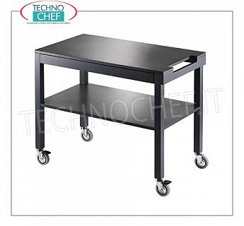 Wooden service carts Service trolley in matt lacquered ANTHRACITE wood, with 2 shelves, push handle, max capacity Kg.30, dim.mm.1000x450x840h