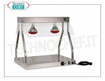 Hot plate with Infrared heating lamps HOT STAINLESS STEEL TOP with 1 Plexiglas INFRARED LATERALS and SIDE DEFLECTORS, Suitable for 1 TILE GASTRO-NORM 1/1 (530x325 mm), thermostat adjustable from 30 to 90 °, V 230/1, Kw.0.6 - dim.mm.380x530x700h