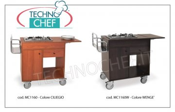 Metalcarrelli - FLAMBE TROLLEY with 2 FOCUSES in LINE, Cherry color, mod. 1160 Flambe trolley with 2 burners in Line, Bottle rack, Side flap, cutlery drawer, cylinder compartment with door, cherry color, dim. mm 980x500x800h