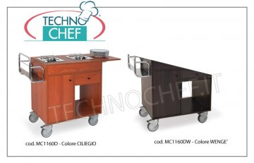 Metalcarrelli - FLAMBE TROLLEY with 2 separate burners, cherry color, Mod.1160D Flambè trolley with 2 separate burners, Bottle rack, Side flap, cutlery drawer, cylinder compartment with door, cherry color, dim. 980x500x800h
