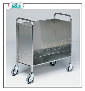 Flat transport trolleys Stackable flat container carriage closed on 3 sides, capacity 200 plates, dim.cm.84 x 48 x 90 h