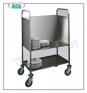 Flat transport trolleys Stackable 3-sided stack transport trolley + lower shelf, capacity 200 plates, dim.cm.84 x 48 x 110 h