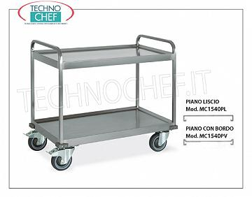 Service trolleys in stainless steel Welded trolley for heavy transport, built in 18/10 stainless steel, with 2 tops welded from mm. 1000x580, max capacity 200 kg, dimensions mm. 1080x610x930.