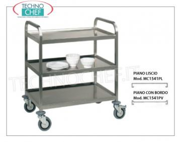 Trolleys for freight transport Welded trolley for heavy transport, built in 18/10 stainless steel, with 3 tops welded from mm. 1000x580, max capacity 200 kg, dimensions mm. 1080x610x930.