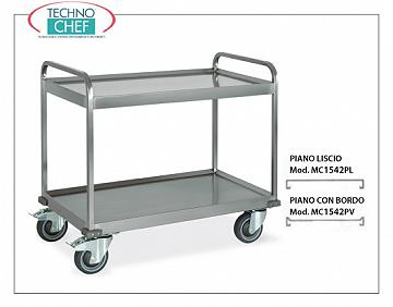 Trolleys for freight transport Welded trolley for heavy transport, built in 18/10 stainless steel, with 2 tops welded from mm. 1000x580, max capacity 500 kg, dimensions mm. 1080x610x960.