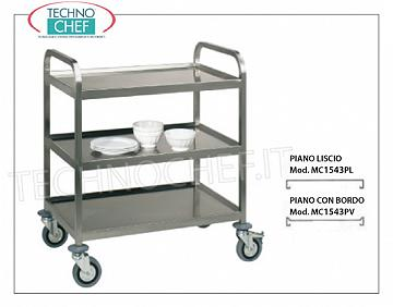 Trolleys for freight transport Welded trolley for heavy transport, built in 18/10 stainless steel, with 3 tops welded from mm. 1000x580, max capacity 500 kg, dimensions mm. 1080x610x960.
