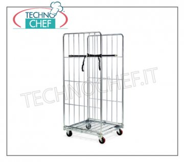 Technochef - Roll CONTAINER TROLLEY with LOW FLOOR and 2 HIGH SPONDE, art.1812 roll container Roll container trolley with tubular frame and cold-galvanized steel wire, max capacity 600kg, dimensions 720x810x1800h mm