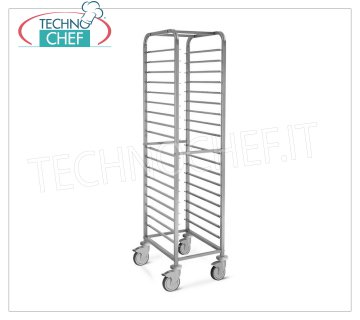 TECHNOCHEF - STAINLESS STEEL TROLLEY for 18 TRAYS GN 1/1, Mod.2062 STAINLESS STEEL RACK TROLLEY with Anti-tipping Guides to '' C '' with Latch for 18 TRAYS GN 1/1 (mm 530x325), dim.mm.450x610x1800h