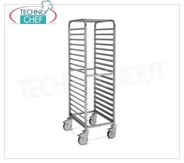 TECHNOCHEF - STAINLESS STEEL TROLLEY for 18 TRAYS cm.60x40, Mod.2066 STAINLESS STEEL RACK TROLLEY with '' L '' guides with stop for 18 TRAYS mm 600x400, dim.mm.530x680x1720h