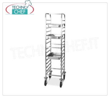 TECHNOCHEF - STAINLESS STEEL TROLLEY for 14 TRAYS GN 1/1, Mod.2070 STAINLESS STEEL RACK TROLLEY with Rollover Guides to '' C '' for 14 TRAYS GN 1/1 (mm 530x325), dim.mm.440x600x1630h
