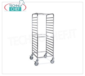 TECHNOCHEF - STAINLESS STEEL TROLLEY for 14 GN 2/1 or 28 TRAYS GN 1/1, Mod.2072 STAINLESS STEEL RACK TROLLEY with anti-tipping guides to '' C '' for 14 GN 2/1 TRAYS (530x650 mm), or 28 GN 1/1 TRAYS (530x325 mm), dim.mm.650x720x1630h