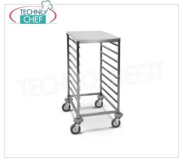 TECHNOCHEF - TROLLEY for 8 GN 1/1 TRAYS with STAINLESS STEEL TOP, Mod.2073 TRAYWAY TROLLEY with STAINLESS STEEL SUPPORT TOP, with Anti-tip Guides at '' C '' for 8 TRAYS GN 1/1 (mm 530x325), dim.mm.440x600x850h